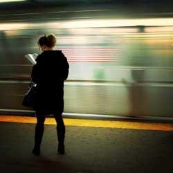 On the platform reading